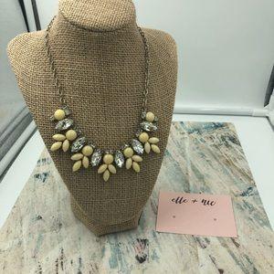Rhinestone and Cream Bib Necklace